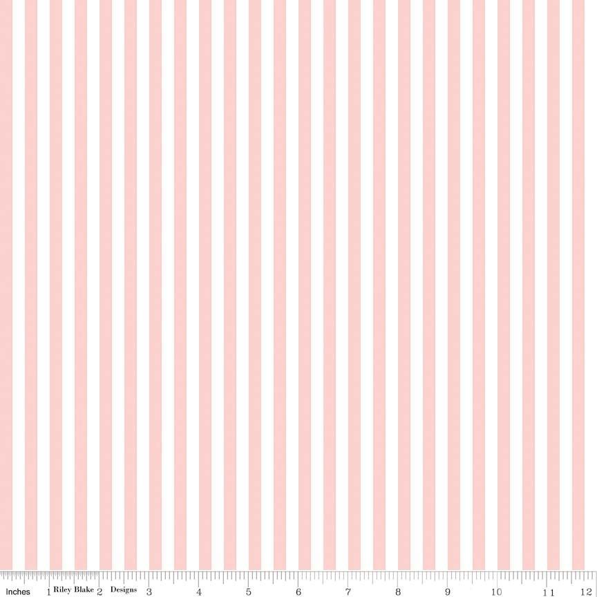1 YARD 2 REMNANT - Stripe 1/4 Inch BABY PINK by Riley Blake Designs