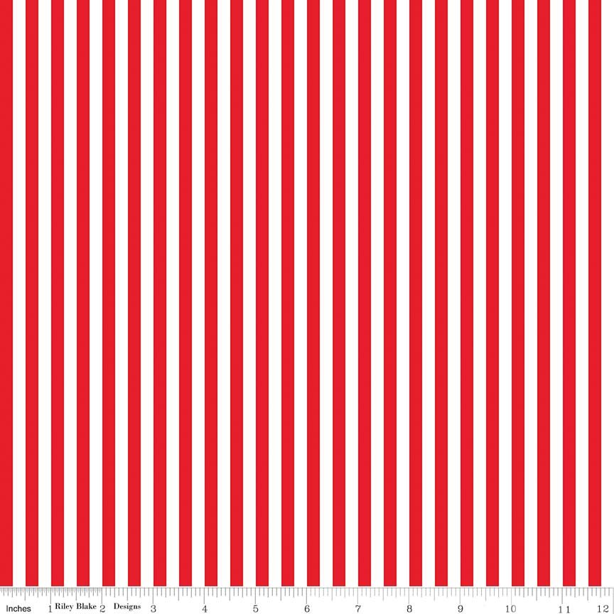 Stripe 1/4 Inch RED by Riley Blake Designs