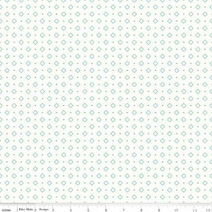 Bee Backgrounds in Diamonds Turquoise by Lori Holt for Riley Blake