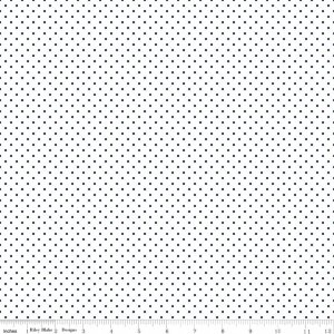 Swiss Dots on Navy Dots on White by Riley Blake Designs