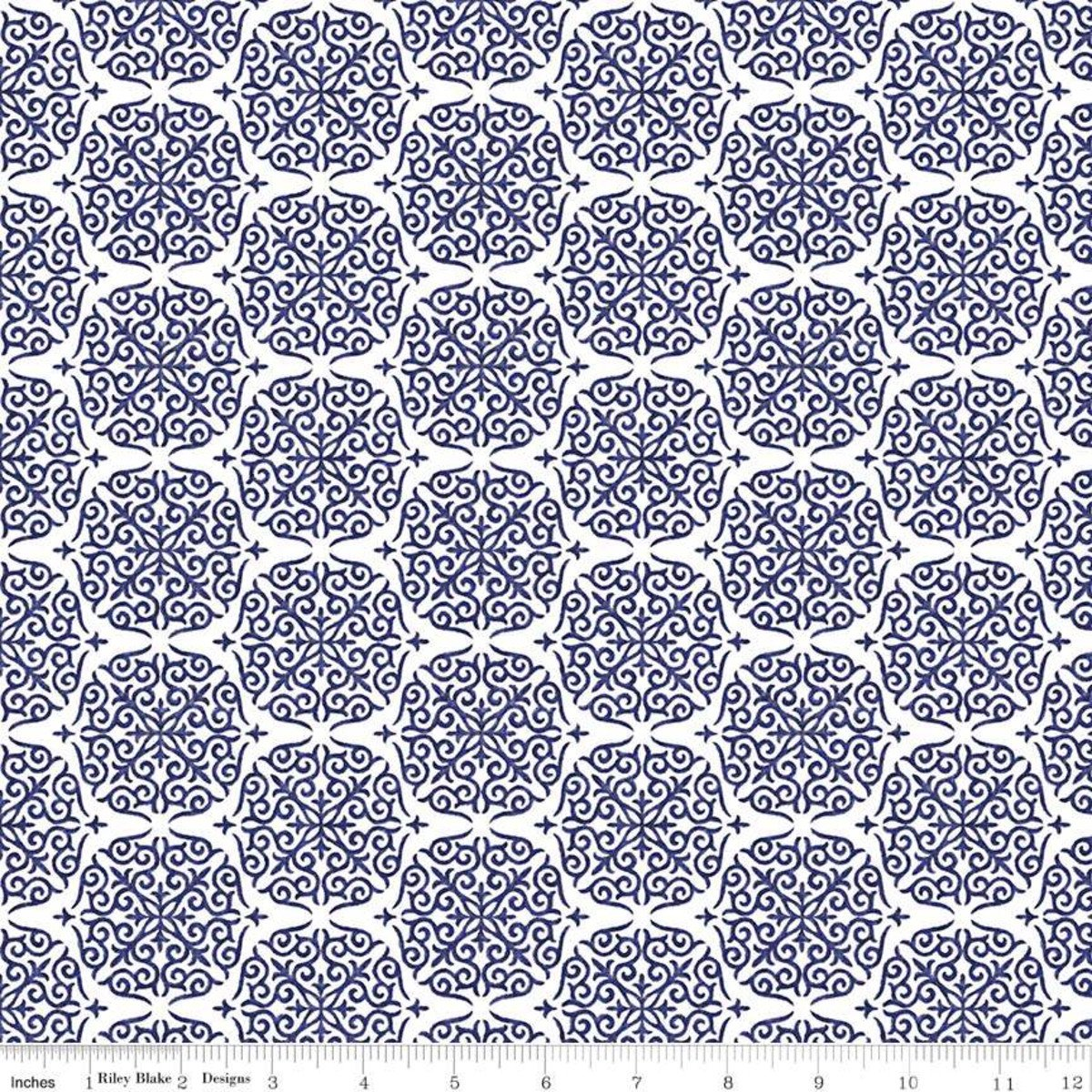 Damask Navy from Fruitful Pleasures by Lila Trueller for Riley Blake