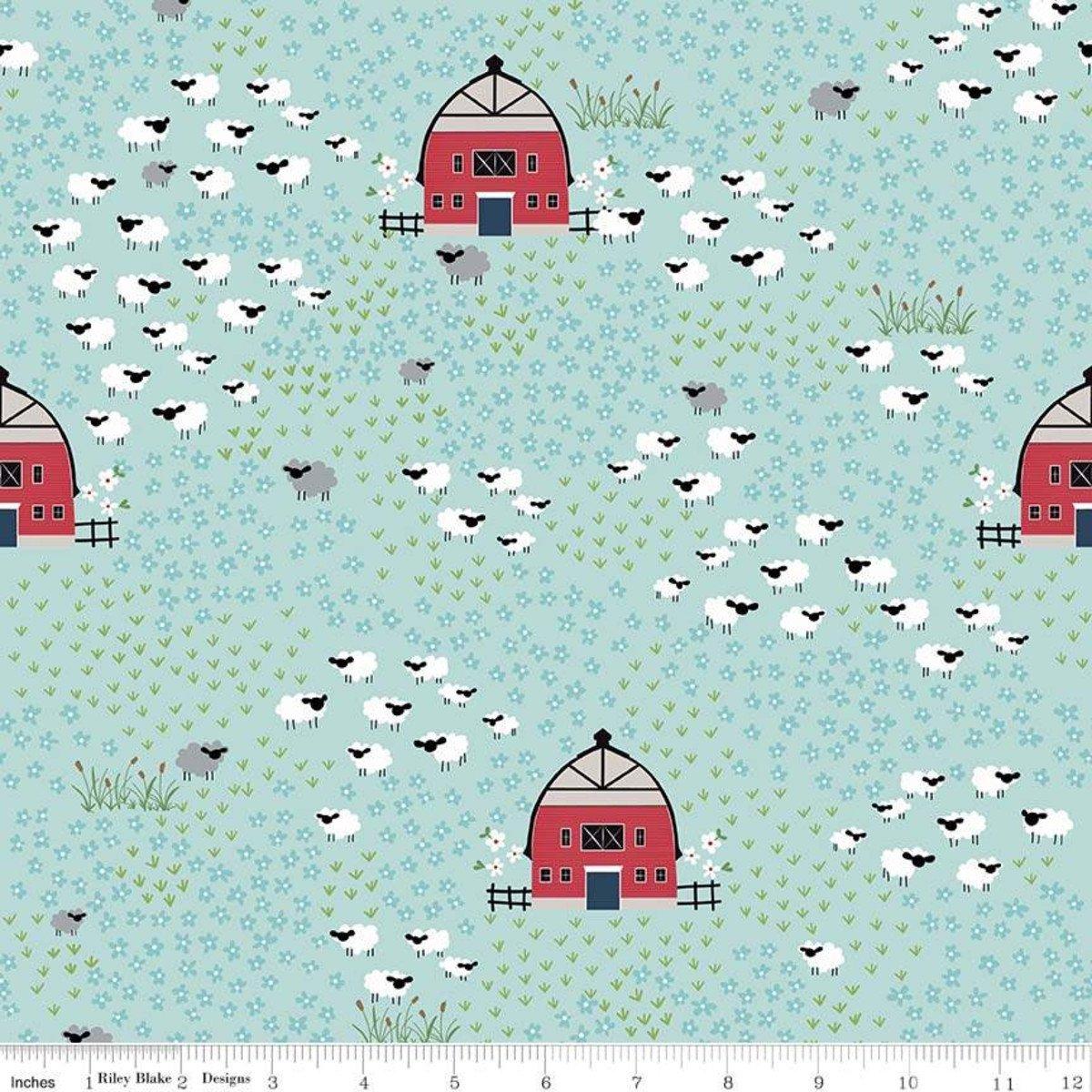 Field Aqua from Fox Farm by Melissa Mortenson for Riley Blake Designs