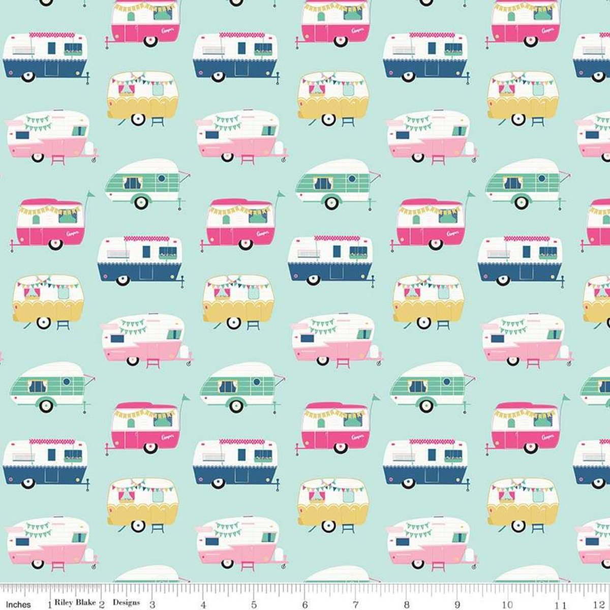 Campers Light Mint from I'd Rather Be Glamping by Dani Mogstad for Riley Blake Designs