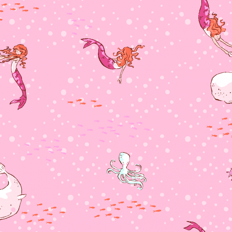 Mermaid Play PINK by Sarah Jane for Michael Miller