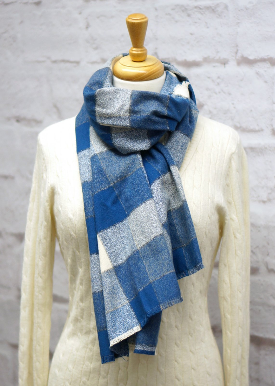 Blue & Ivory Plaid Blanket Scarf