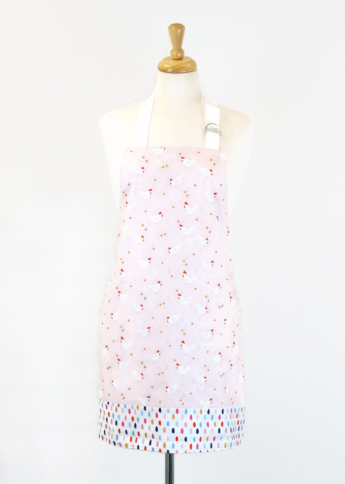 Women's Apron - Chickens in Pink