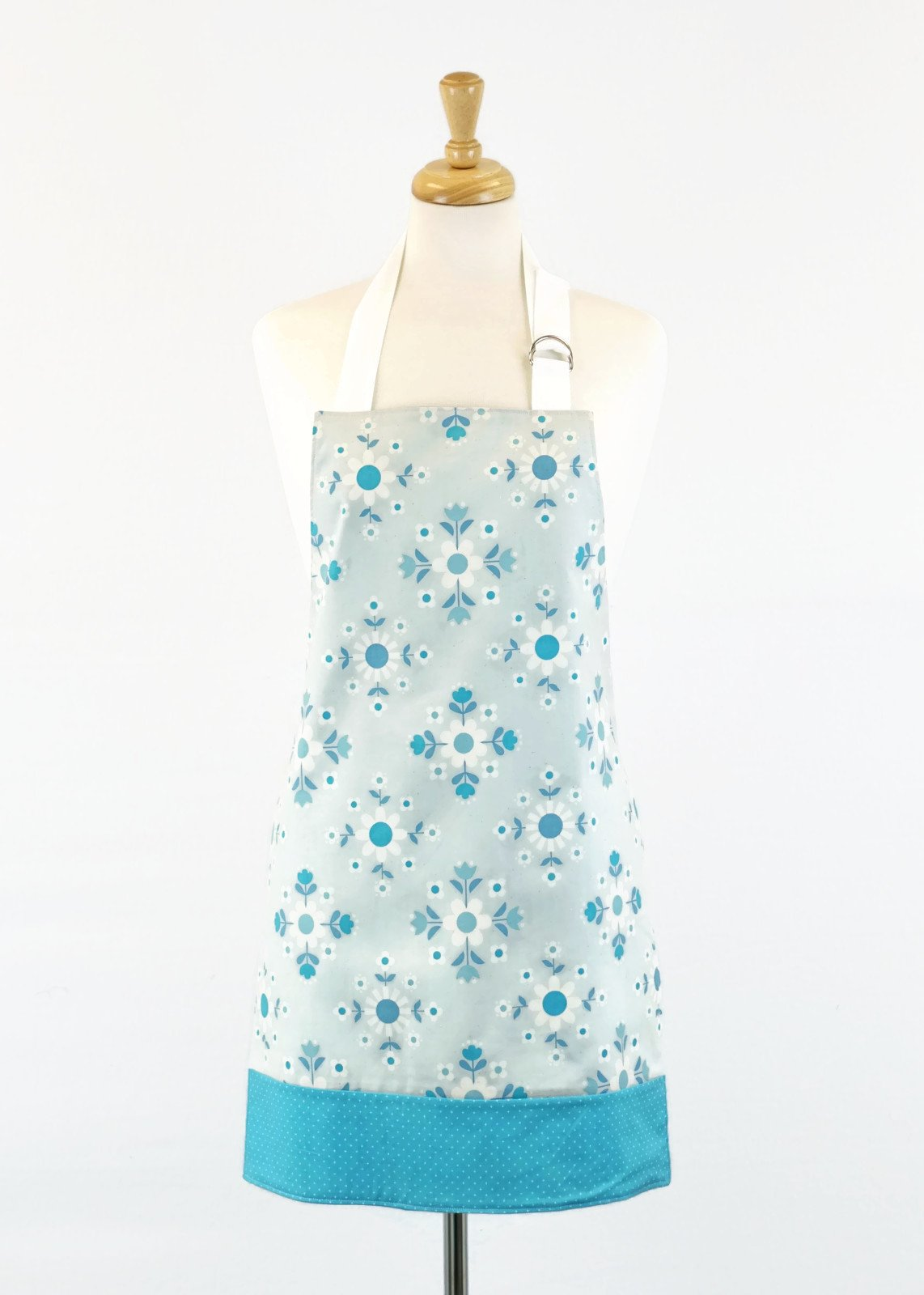 Women's Apron - Gray and Blue Retro Floral