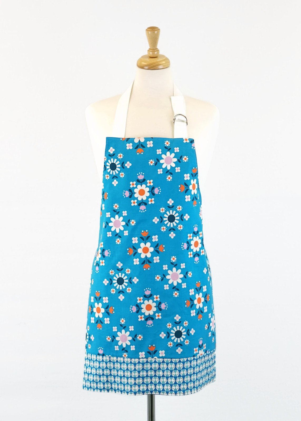 Women's Apron - Retro Blue Floral
