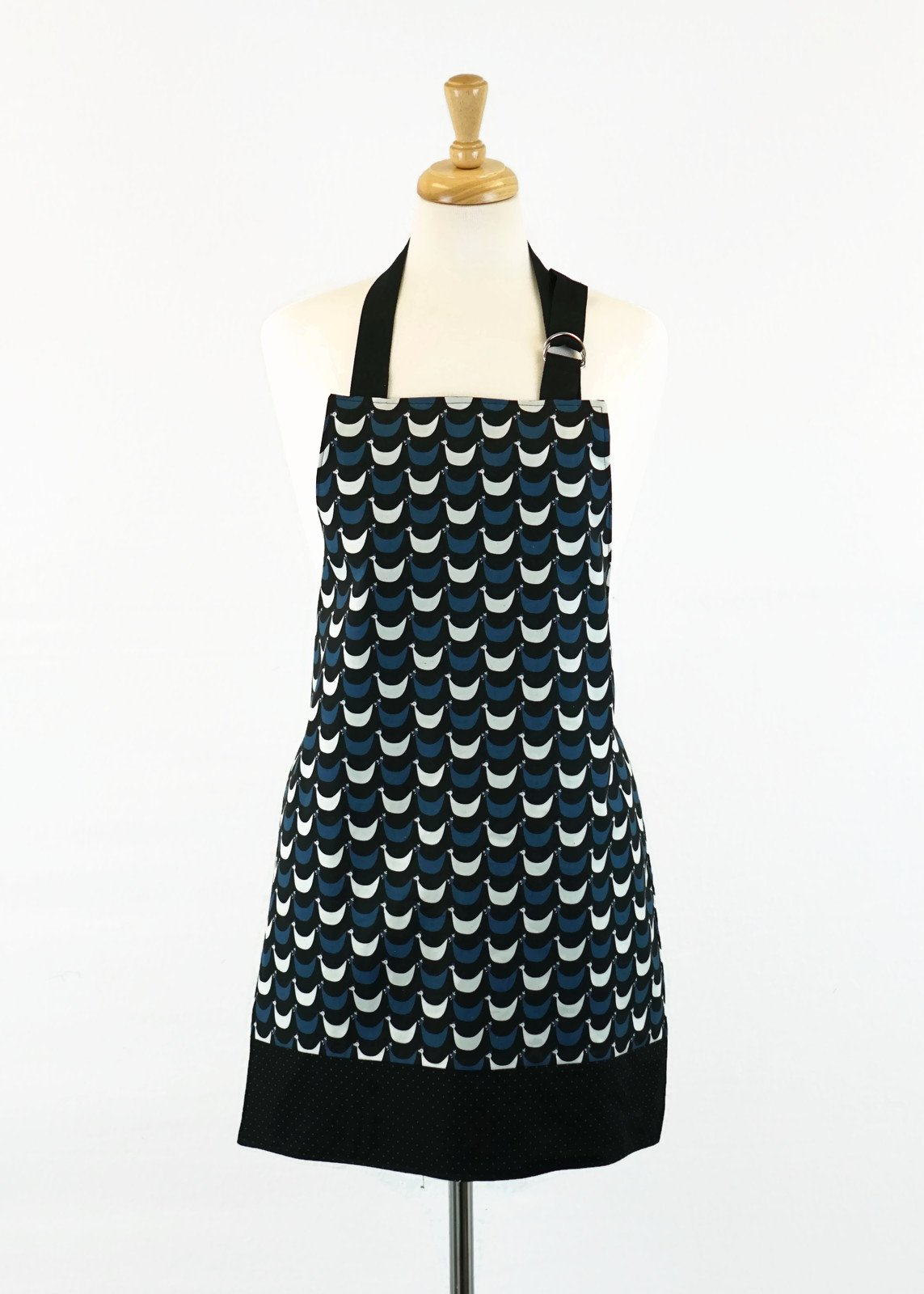 Women's Apron - Chickens in Black