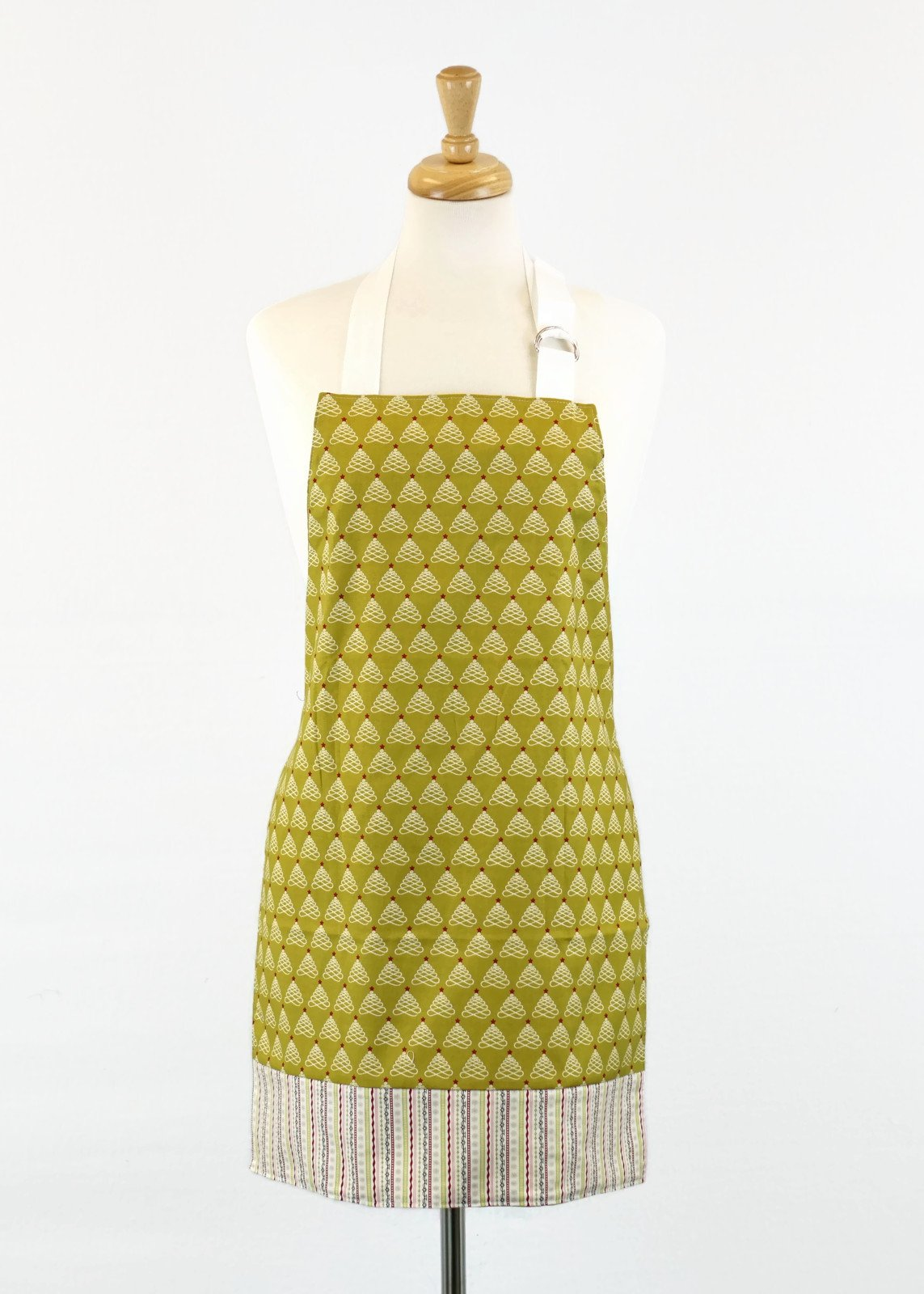 Women's Apron - Olive Christmas Trees