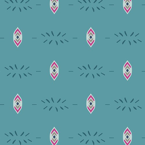 Flower Child in Flicker & Fade Blue by Maureen Cracknwell for Art Gallery Fabrics - 1 YARD 21 REMNANT
