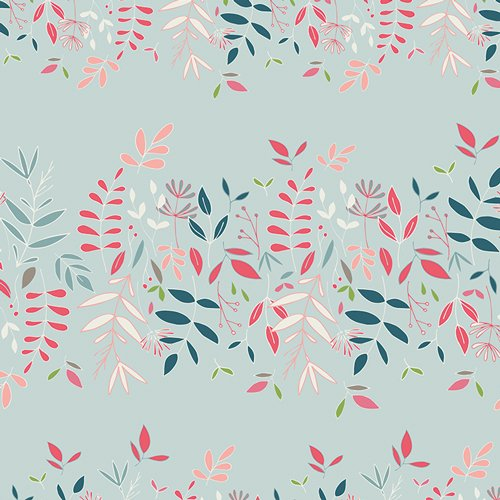 1 YARD REMNANT - Flower Child in Lush Canopy Sky by Maureen Cracknwell for Art Gallery Fabrics