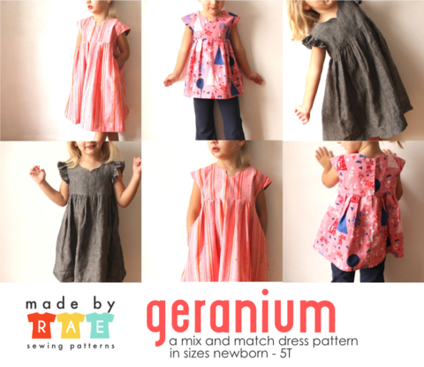 Made By Rae Sewing Pattern  - Geranium Size 0-5T (Baby/Toddler)