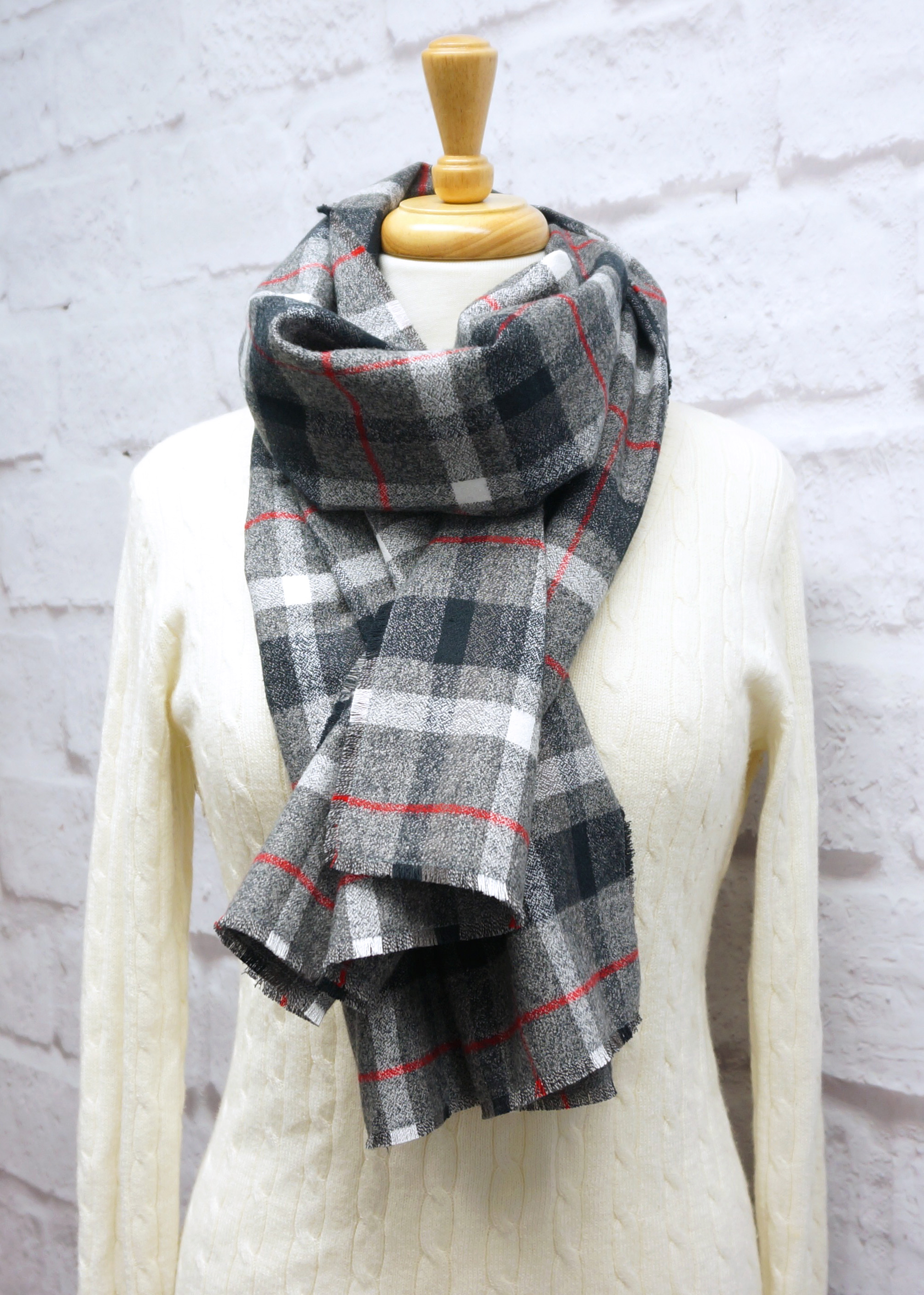 Gray, White & Red Plaid Blanket Scarf
