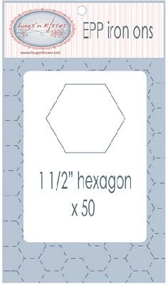 Hugs' n Kisses English Paper Piecing Iron-ons - 1.5 Hexagon  - 50 Pieces