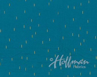 Hoffman Hand Dyed Batiks Me + You in Lines Turquoise/Gold