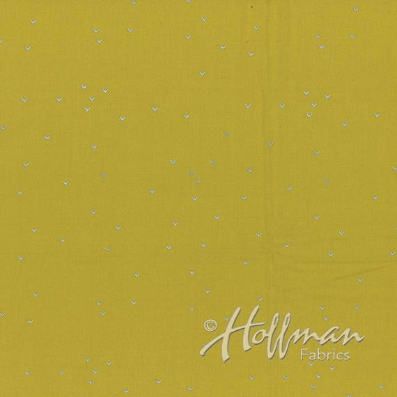 Hoffman Hand Dyed Batiks Me + You in Lines Mustard/Silver