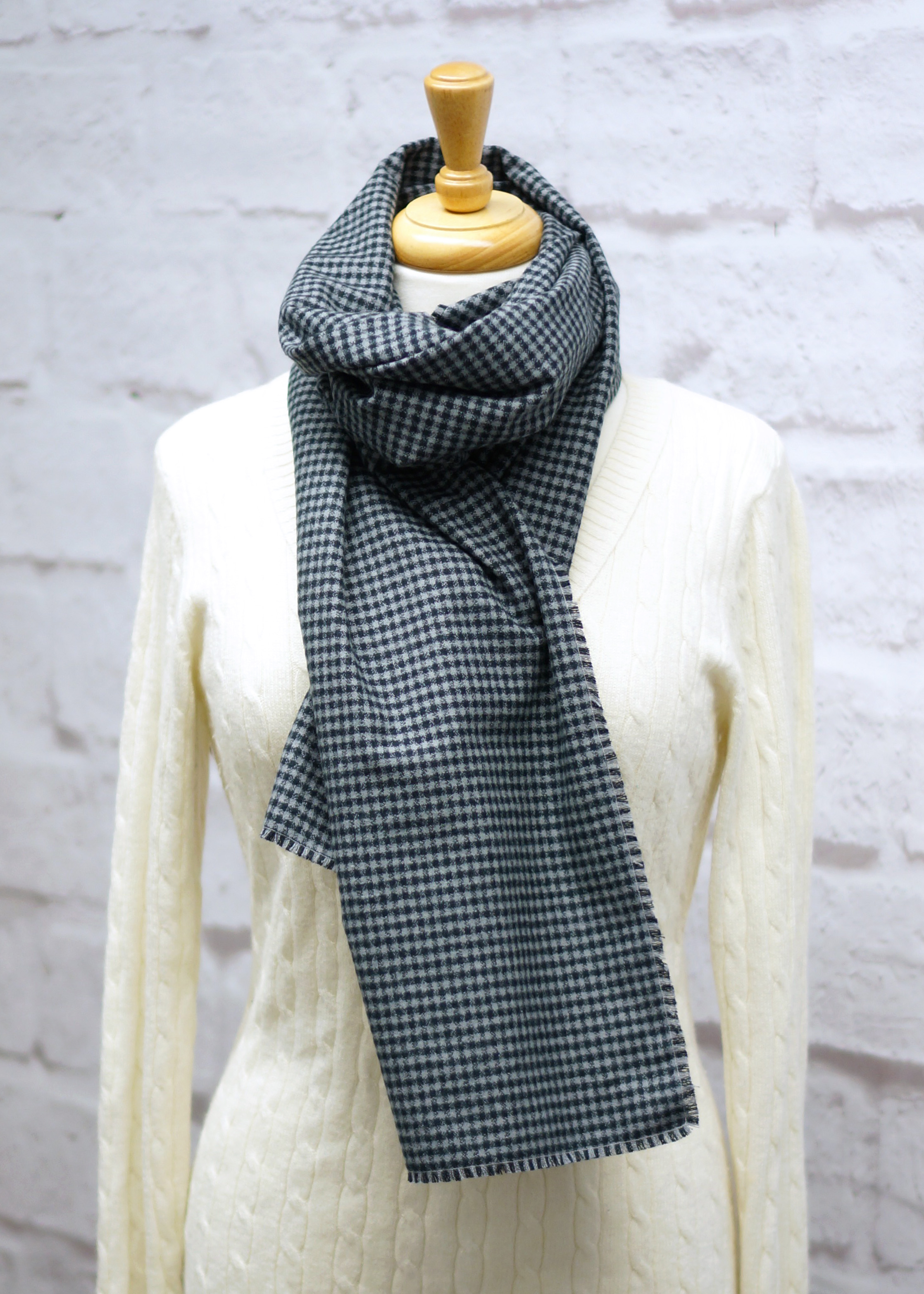 Gray Check Blanket Scarf