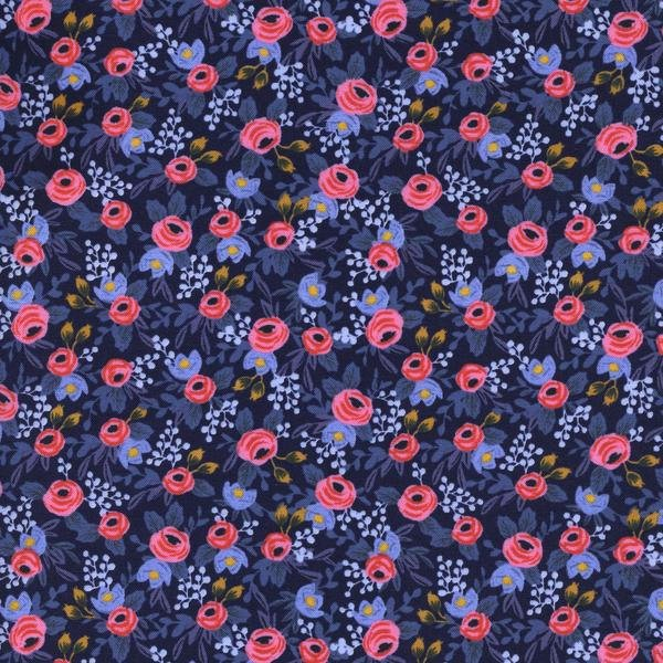 Rosa Floral Navy from Les Fleurs - Anna Bond Rifle Paper Co. for Cotton + Steel