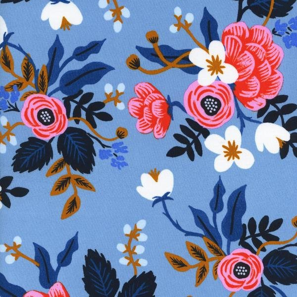 Les Fleurs Birch RAYON Periwinkle by Anna Bond for Cotton + Steel