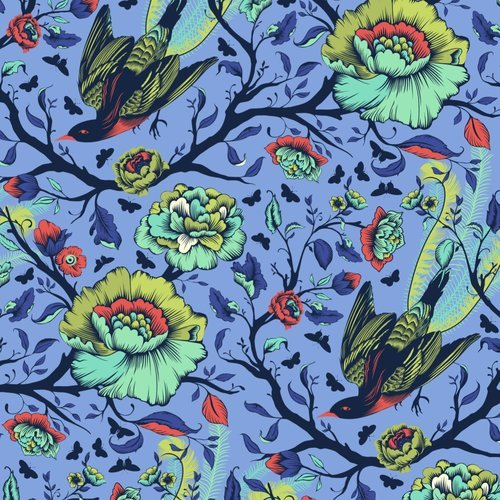 28 REMNANT - All Stars in Tail Feathers Lupine by Tula Pink for FreeSpirit Fabrics