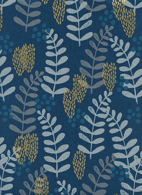 17 REMNANT - Imagined Landscapes in Fern Dell Navy for Cotton + Steel