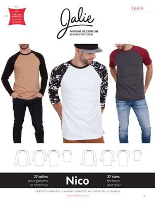 Jalie Patterns Nico Men/Boy's Raglan T-Shirt Pattern  #3669