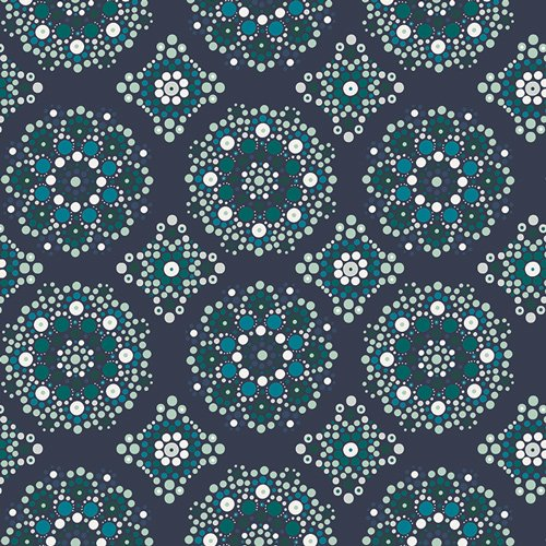 Loved to Pieces in Mandala Drops Midnight by Mister Domestic for Art Gallery Fabrics
