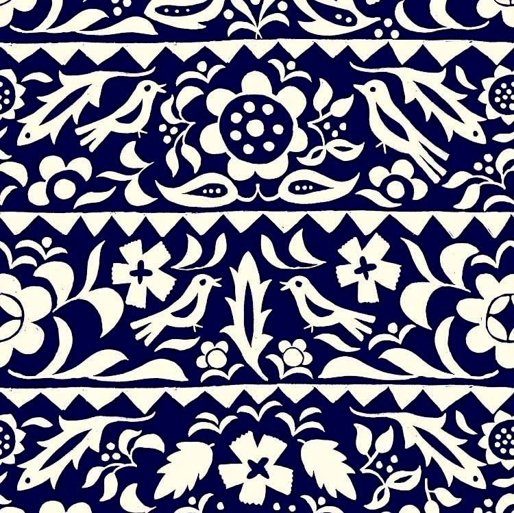 Moonrise RAYON in Market Floral Indigo for Cotton + Steel