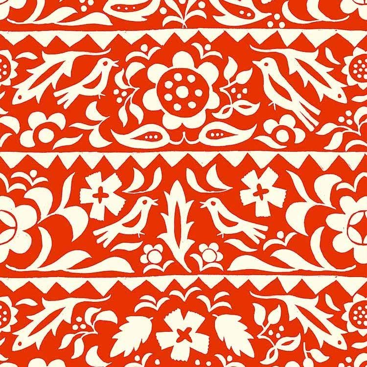 Moonrise RAYON in Market Floral Red for Cotton + Steel