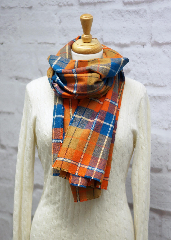 Blue & Orange Plaid Blanket Scarf