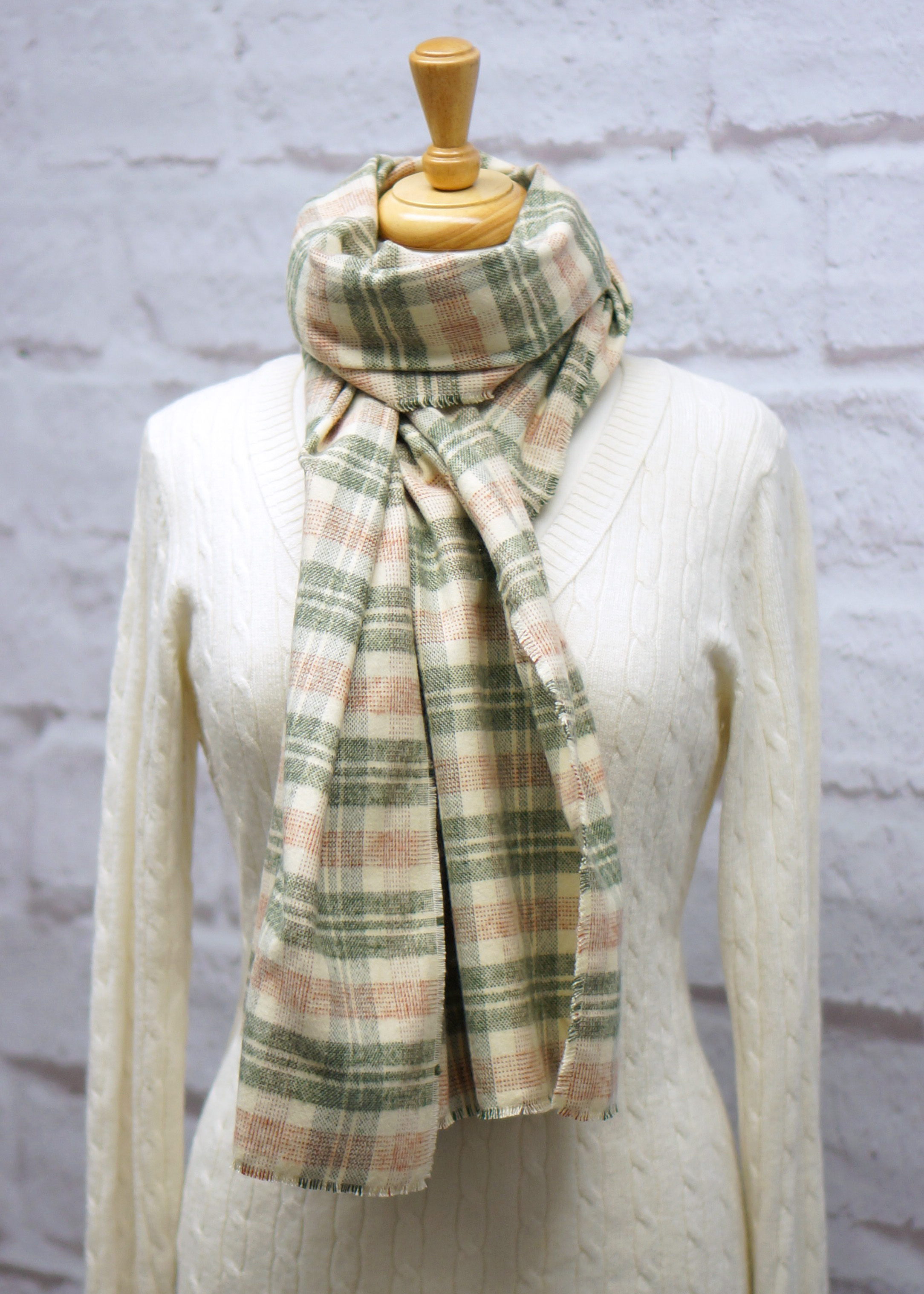 Ivory, Sage & Rose Plaid Blanket Scarf