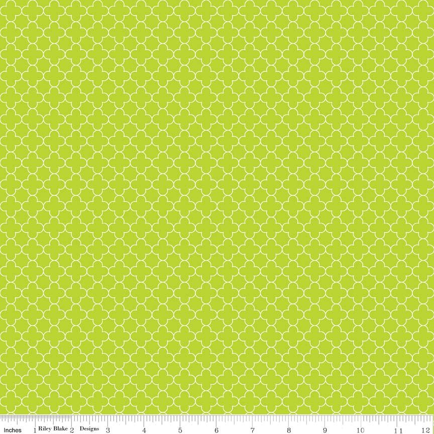 2 Yards - Mini Quatrefoil Lime from Riley Blake