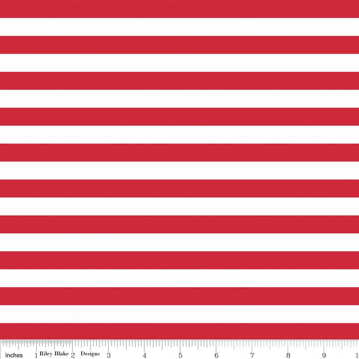 Stripe 1/2 Inch RED by Riley Blake Designs