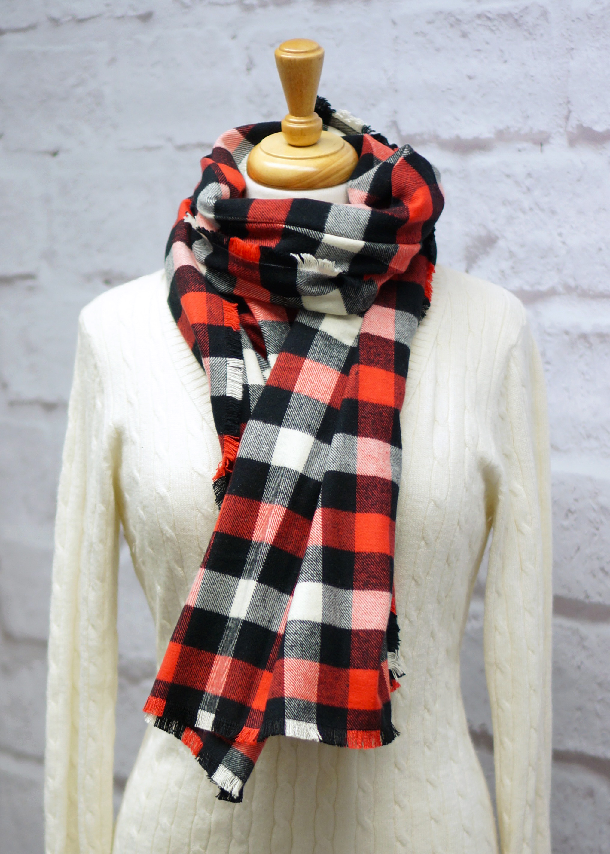 Red, Black & Ivory Plaid Blanket Scarf