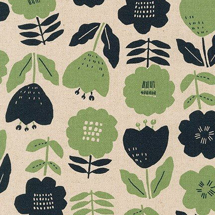 Navy and Green Large Floral (SB-850271D1-2 PARK) from Cotton Flax Prints by Robert Kaufman