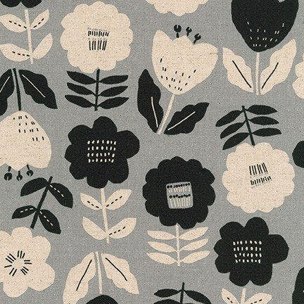 Black and Gray Large Floral (SB-850271D1-4 GREY) from Cotton Flax Prints by Robert Kaufman