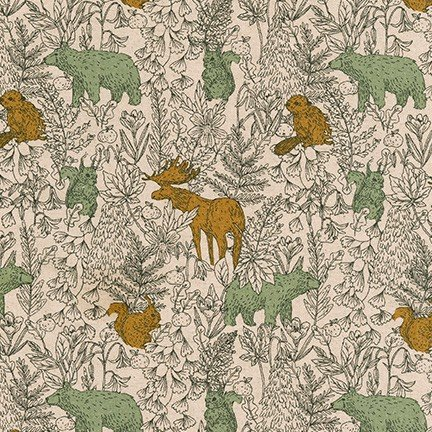 Moose, Bear, Squirrel and Forest (SB-850271D4-1 FOREST) from Cotton Flax Prints by Robert Kaufman