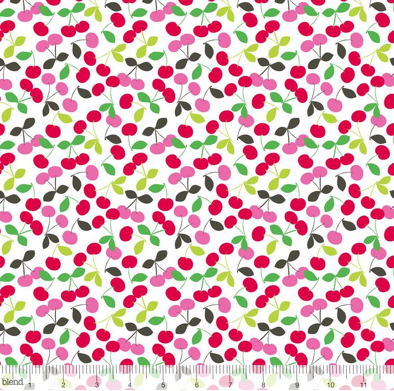 1 YARD 21 REMNANT - Tutti Fruitti CHERRY JUBILEE WHITE by Maude Asbury from Blend Fabrics