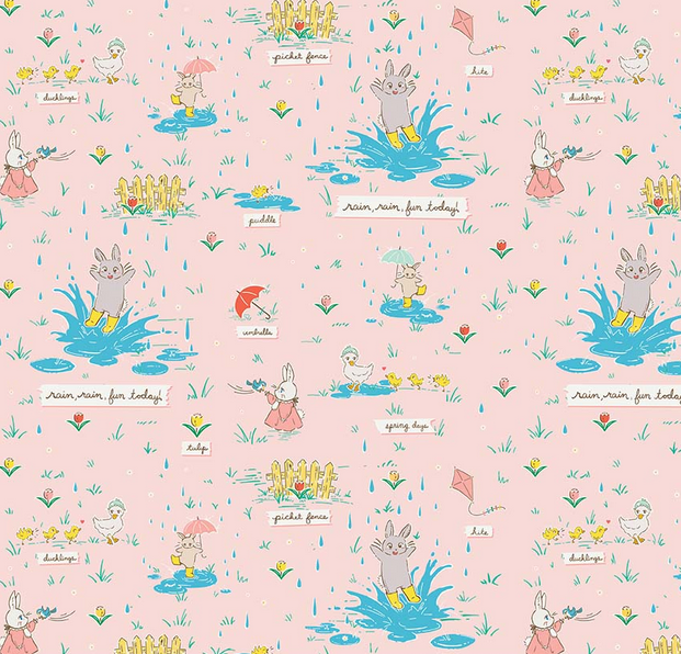 Bunnies & Blossoms Puddles Pink for Penny Rose