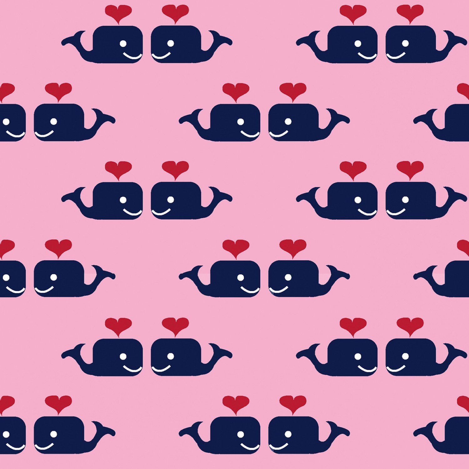 1 Yard 26 REMNANT - Oh Say Can You Sea - Whales in Love PINK - Dear Stella