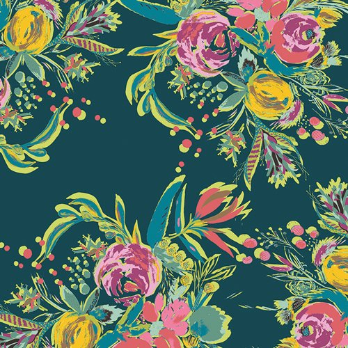 Coquet Bouquet in Voile from Joie De Vivre by Bari J. For Art Gallery Fabrics