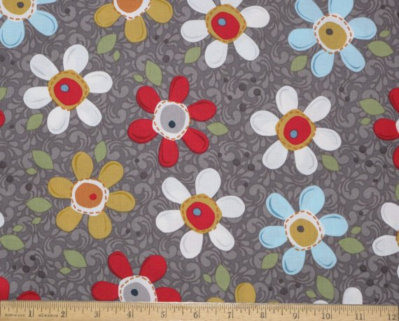 00364 POP DAISY CHARCOAL  WILDFLOWER COLLECTION FOR ADORN IT FABRIC