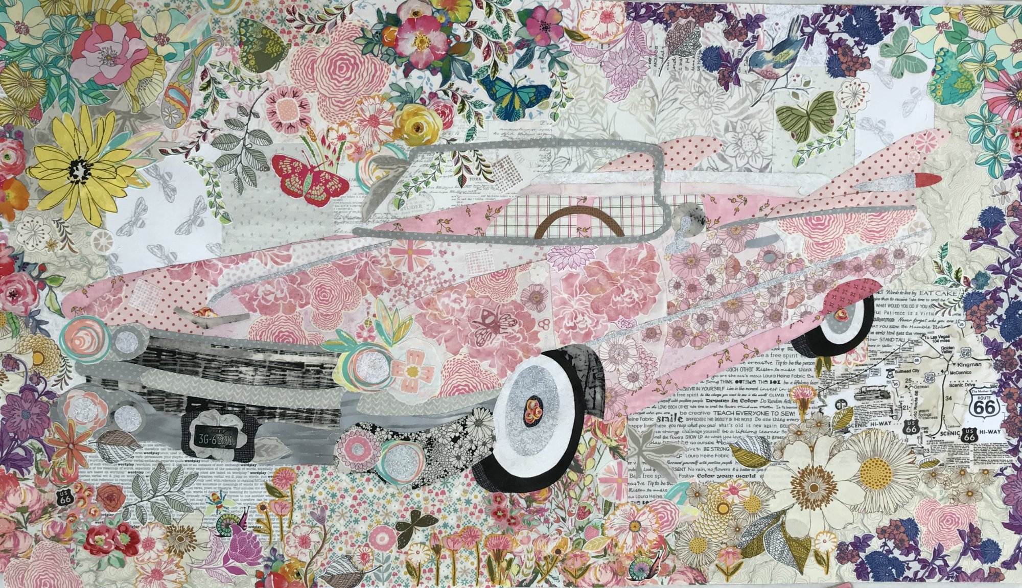 Pink Cadillac Collage Pattern by Laura Heine