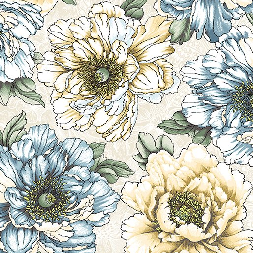 10001 07  CREAM/BLUE   FLOWERING PEONY COLLECTION BY DOVER HILL FOR BENARTEX