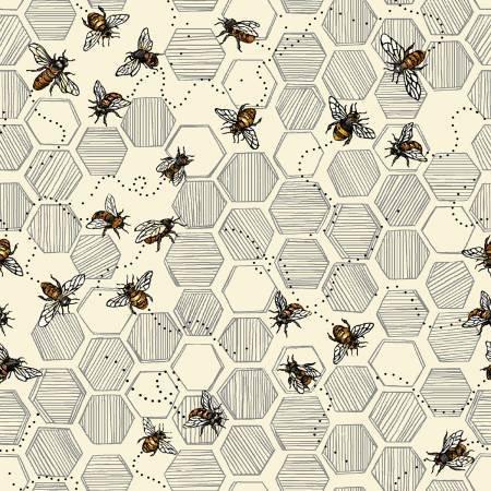 120 99222 NUETRAL BEES  BEE KIND HONEYCOMB & BEES ECRU BY PAINTBRUSH STUDIOS