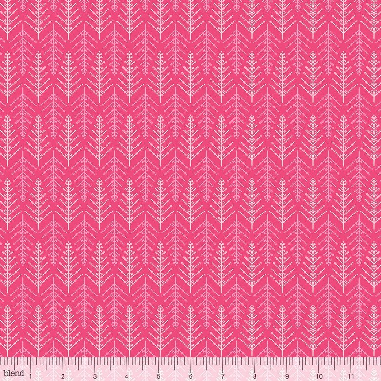 125102051 TINSEL TREE PINK   CHRISTMAS DEAR BY STACY PETERSON FOR BLEND FABRICS