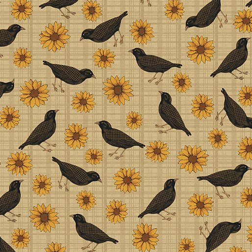 02773 70 Sunflowers and Crows Tan  Pumpkin Patch Collection by Cheryl Haynes for Benartex Fabrics