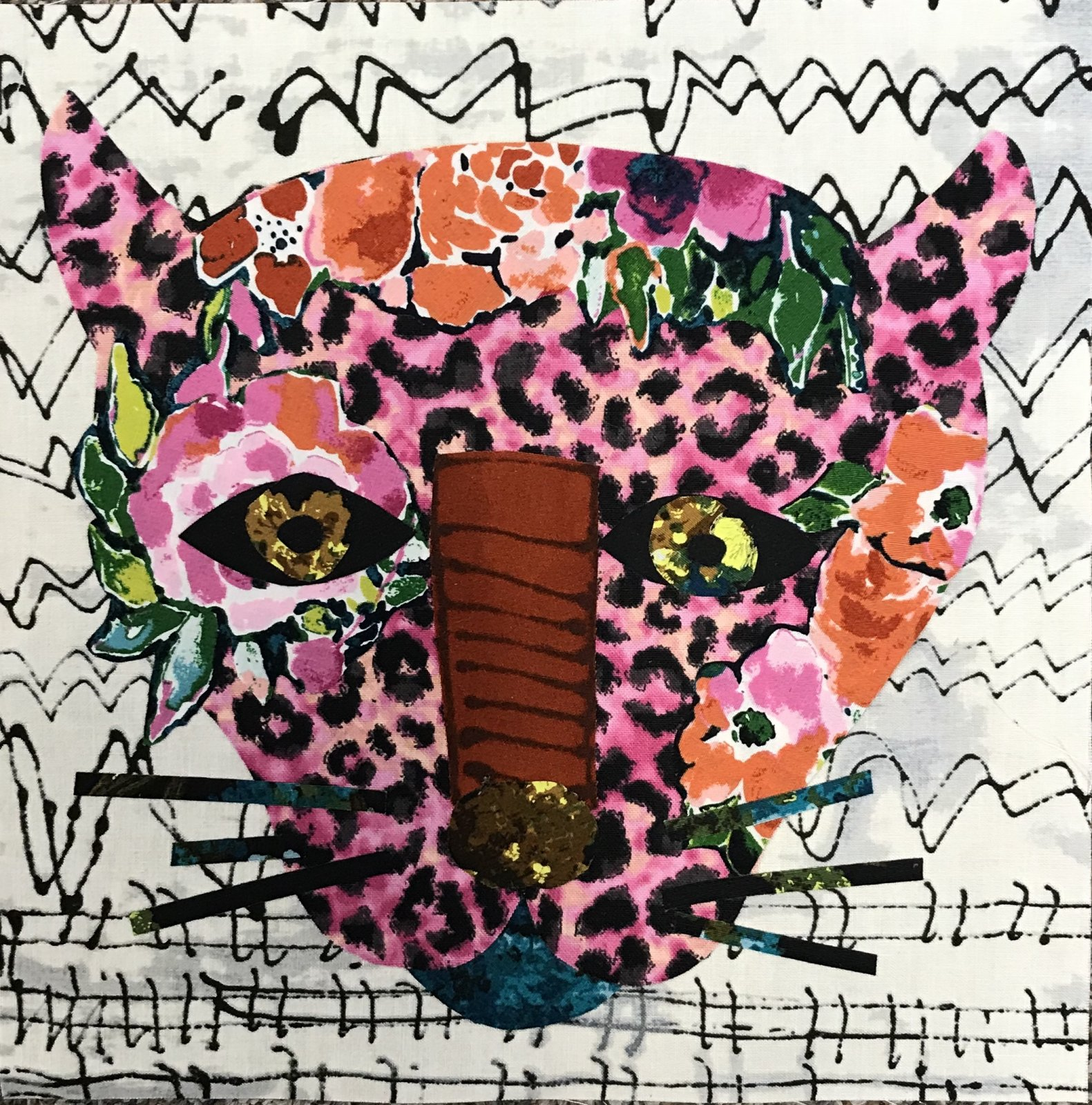 Whatevers! #1 Pink Panther 8 inch Block Collage Pattern Only by Laura Heine