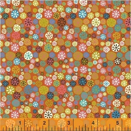 407844 Coral Happy Buttons A Nod To Mod by Windham Fabrics 100% cotton 44 wide